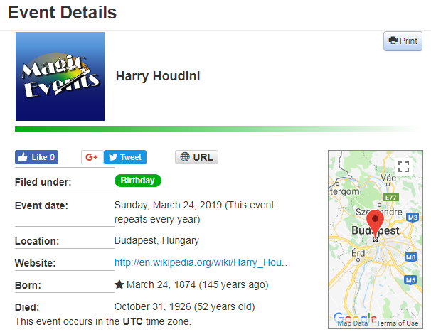 Event Details screenshot for Harry Houdini